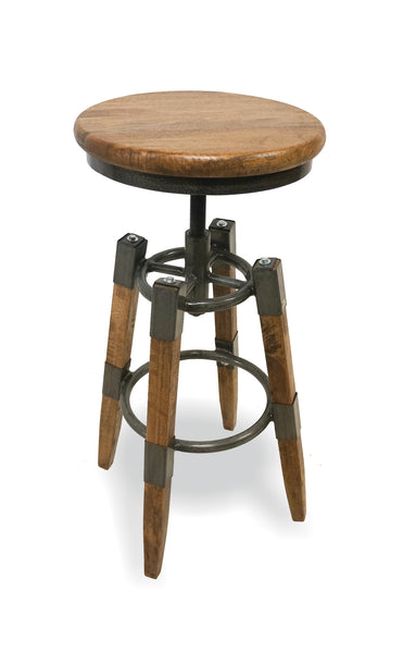 F&B Bar Stool with Wood & Metal Square Leg