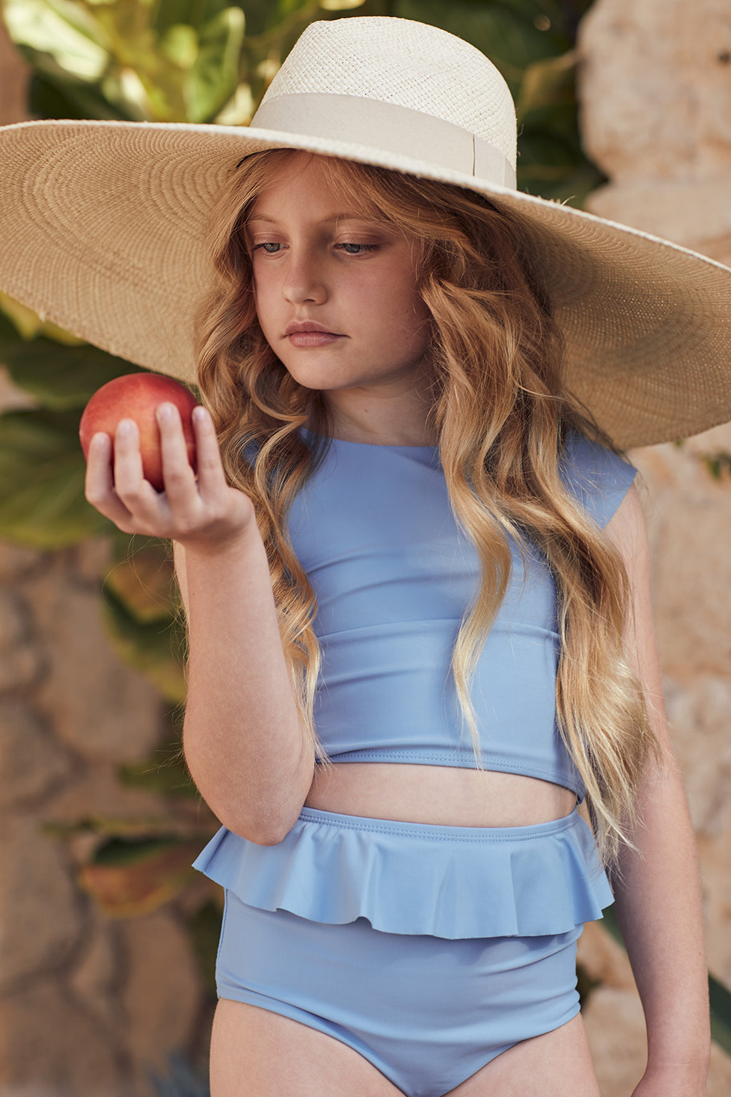 Riviera Blue Cap-Sleeve Two-Piece