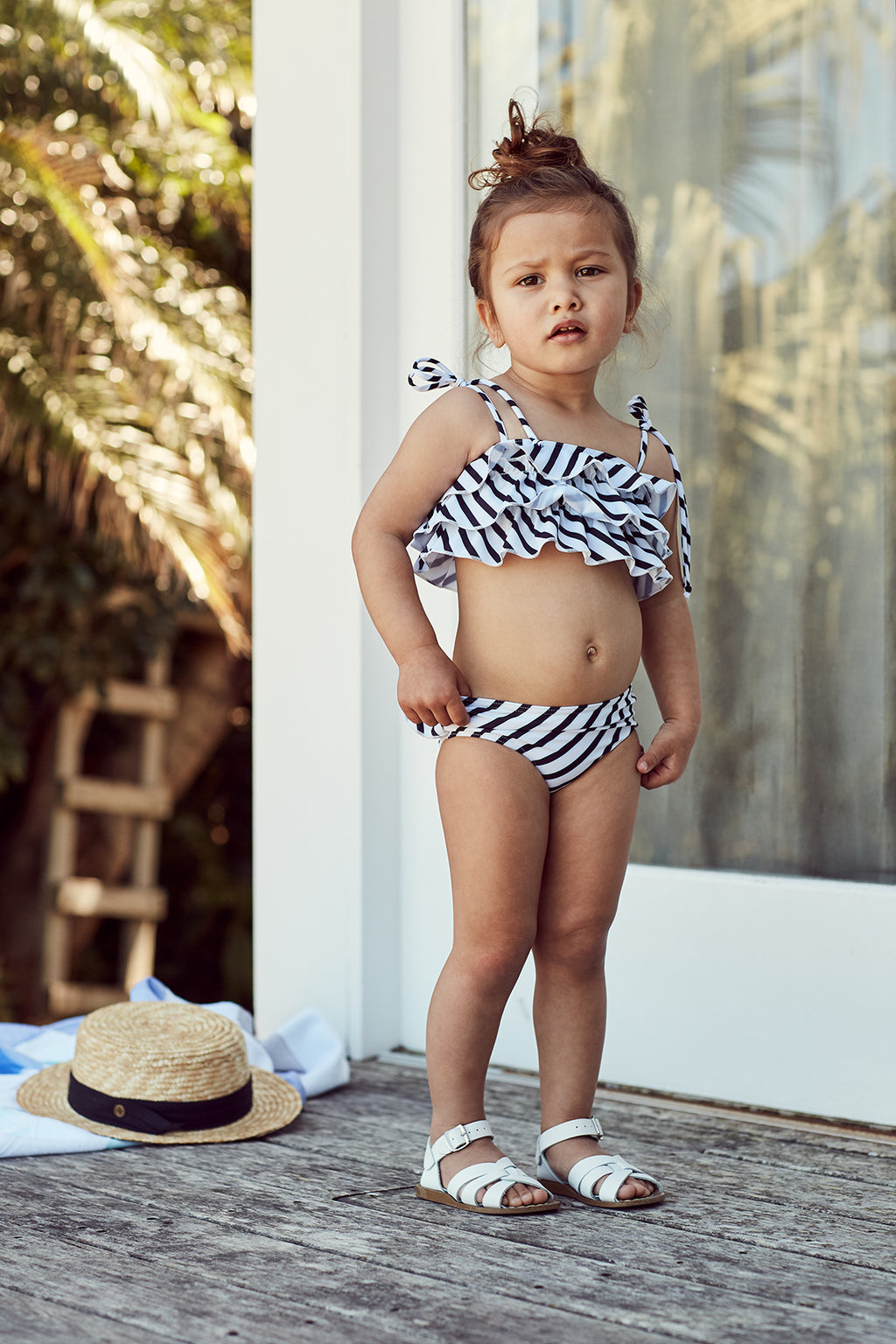 Black & White Striped Ruffle Two-Piece