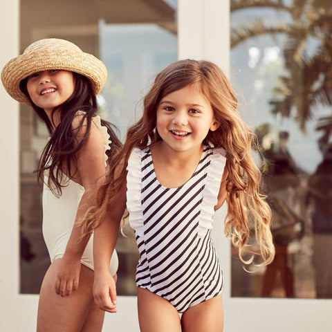 Black & White Striped One-Piece Frill