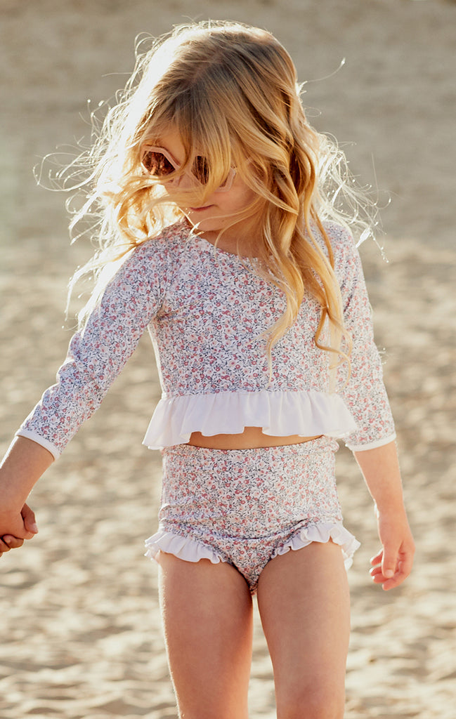 Cherry Blossom Long-Sleeve Ruffle Two-Piece