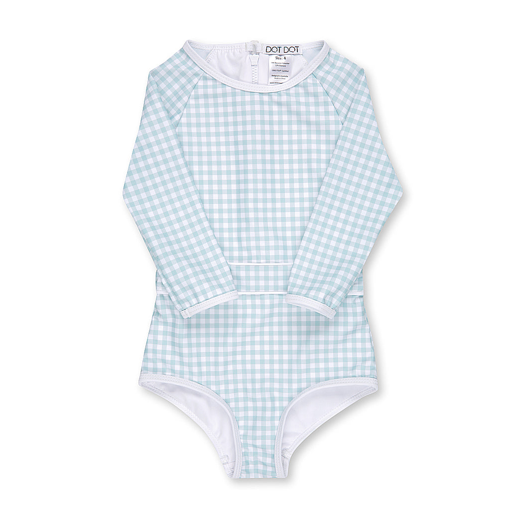 Sage Gingham One-Piece Sunsuit