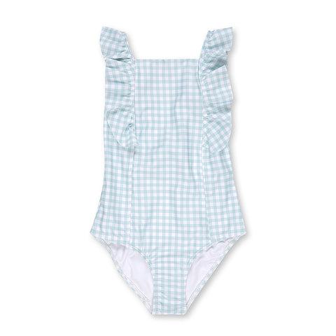 Sage Gingham Square Neck Frill