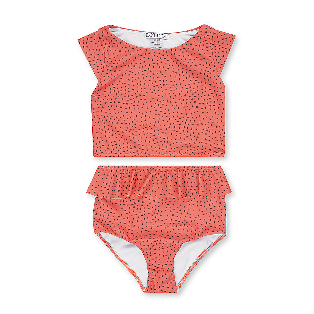 Spotted Coral Cap-Sleeve Two-Piece