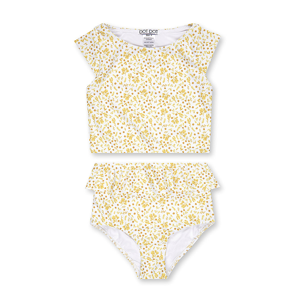 Golden Bloom Cap-Sleeve Two-Piece
