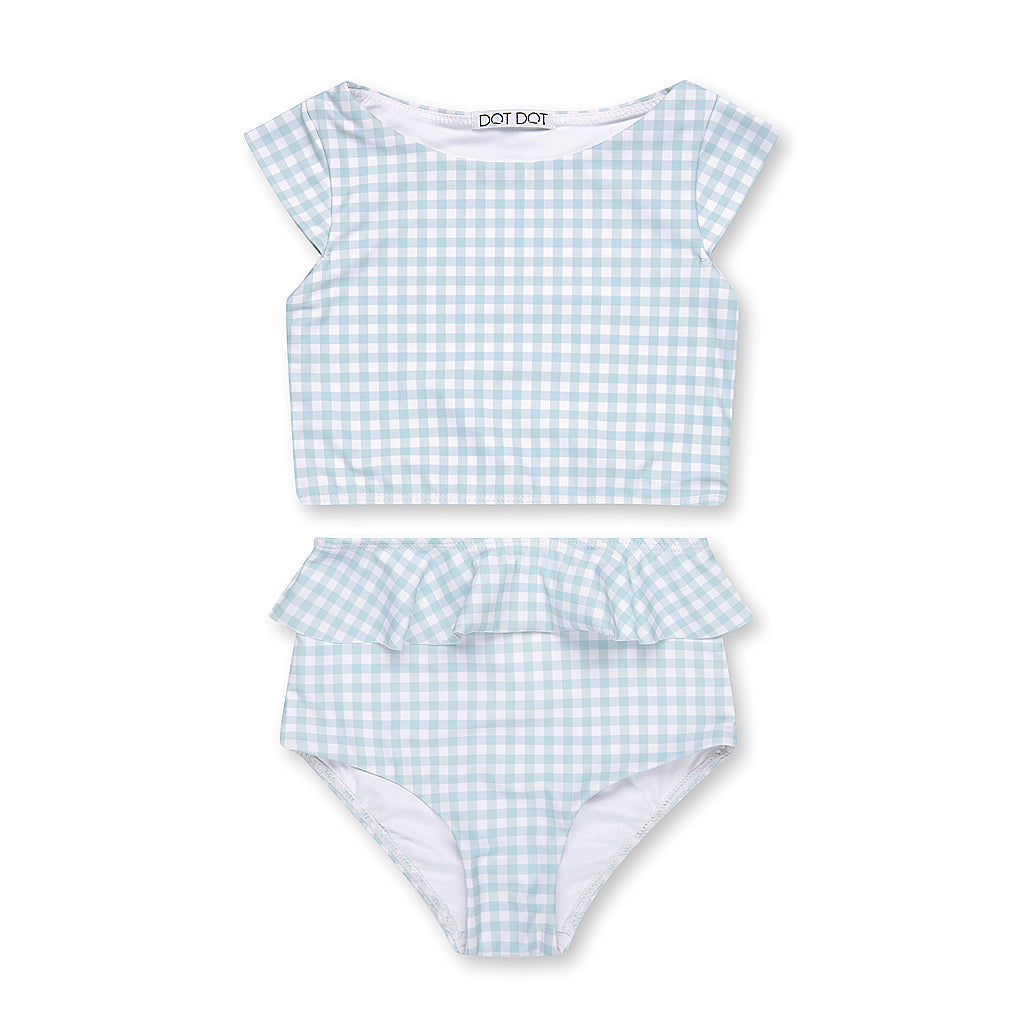 Sage Gingham Cap-Sleeve Two-Piece