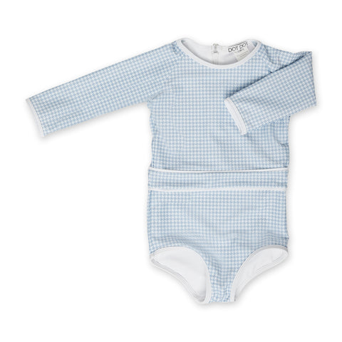 Blue-Grey Houndstooth Sunsuit