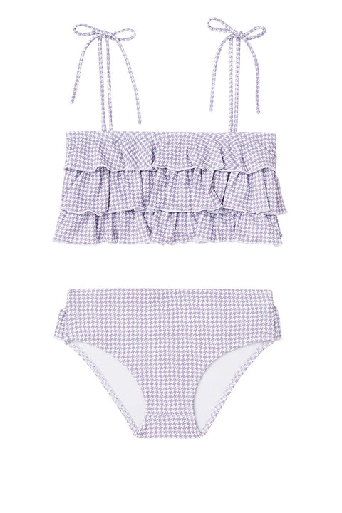 Lilac Houndstooth Ruffle Two-Piece