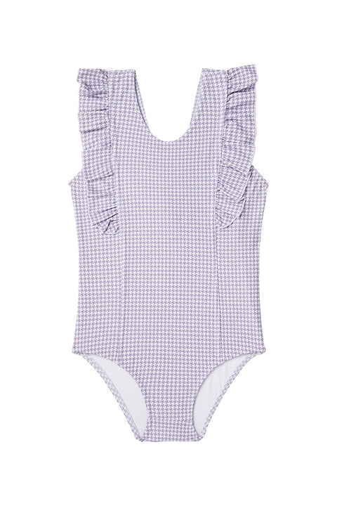 Lilac Houndstooth One-Piece Frill