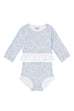 Ice-Blue Long-Sleeve Ruffle Two-Piece