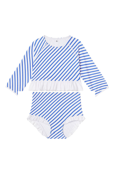 Ocean Stripe Long-Sleeve Ruffle Two-Piece