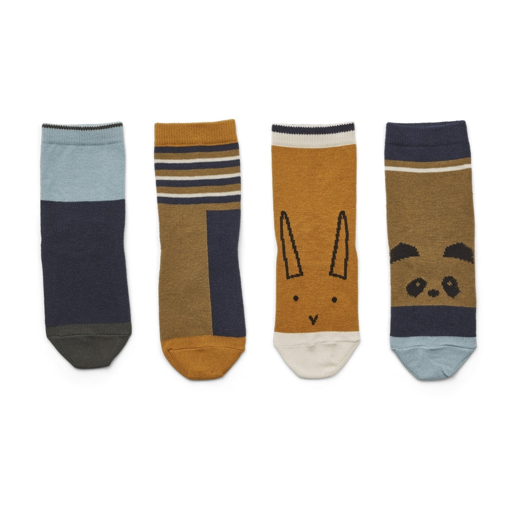Silas Cotton Socks - Oliver green multi mix (pack of 4)