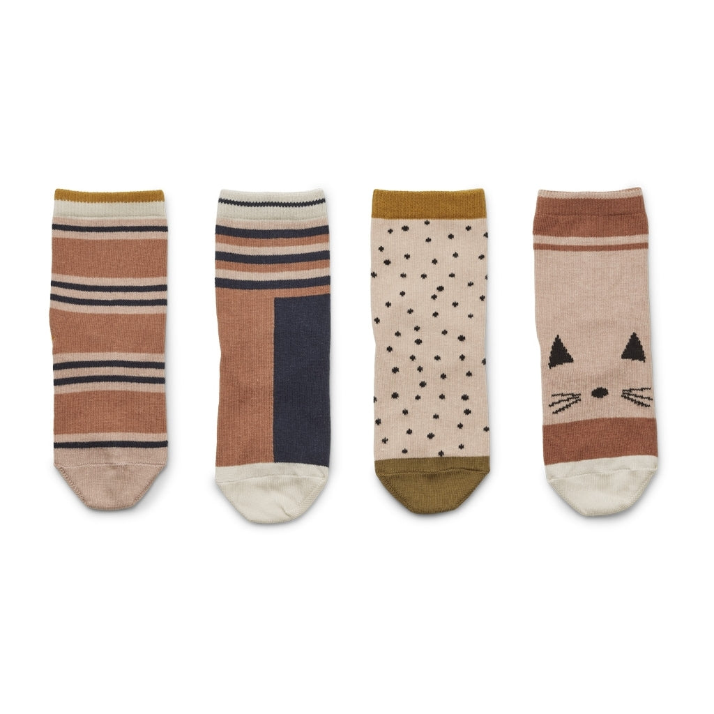 Silas Cotton Socks - Rose multi mix (pack of 4)