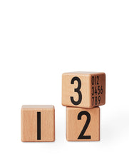 Wooden cubes 0-9 (nature)