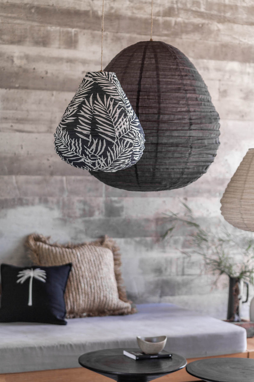 Cotton Palm Charcoal Tear Drop Lantern