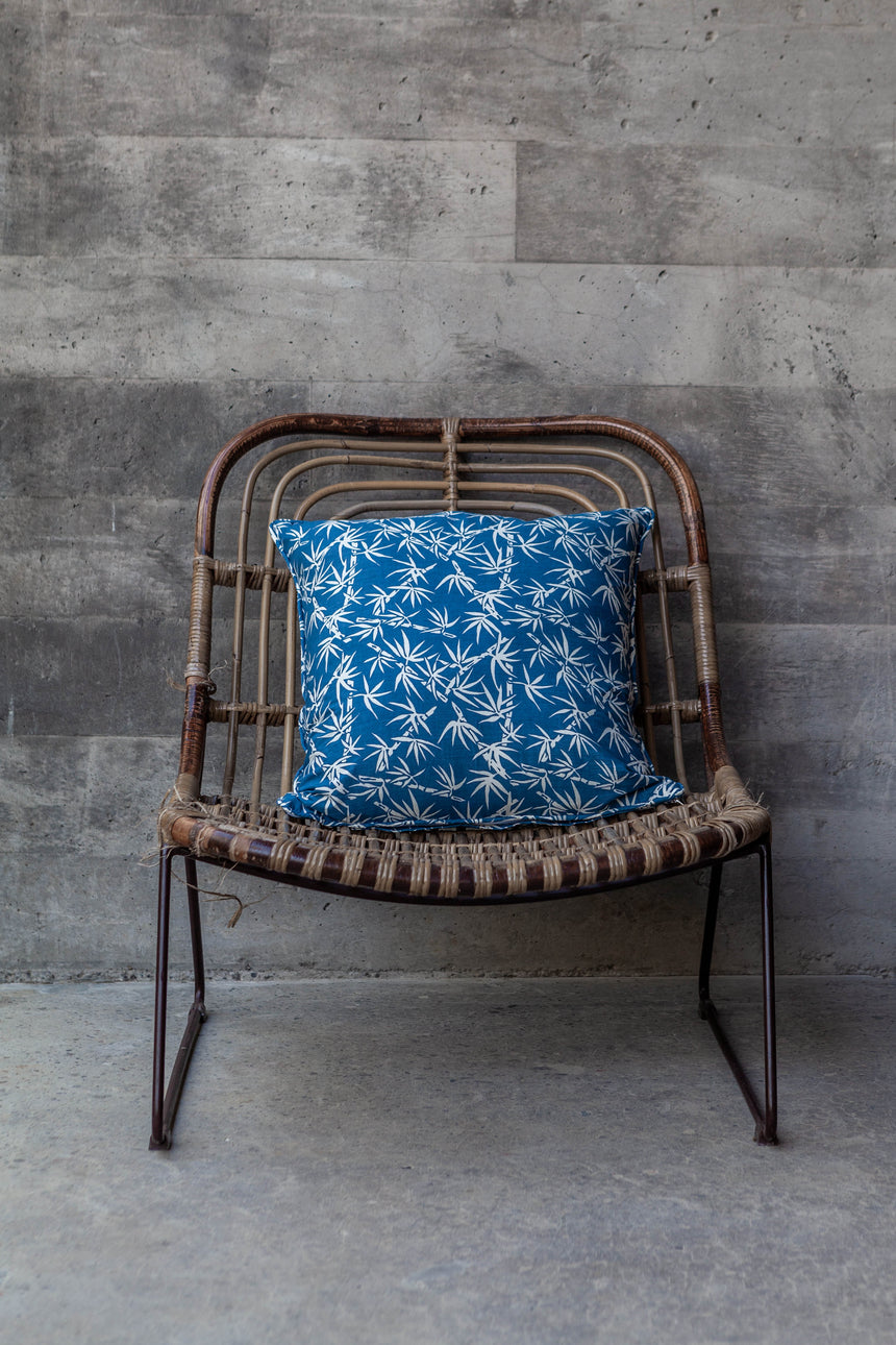 Indigo Bamboo Print Cushion