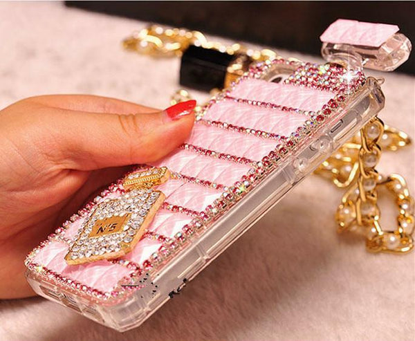Perfume Bottle Shaped iPhone Case with Pearl Chain