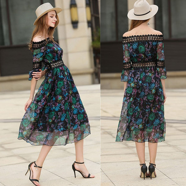 FASHION PRINT OFF-SHOULDER HALF SLEEVE DRESS