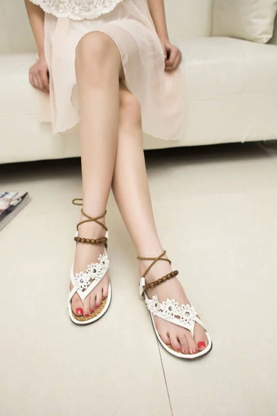 sandals flat heel beaded for Women