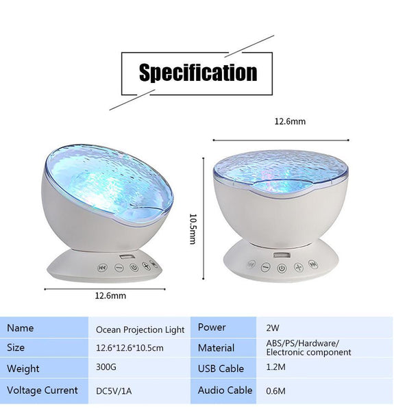 Ocean Lights Projector with Built in Speaker