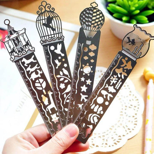 4 PCS Hollow metal bookmarks Ruler