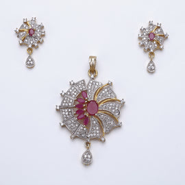 Antique Silver Plated Pink Flower Pendant AD Set with Earrings