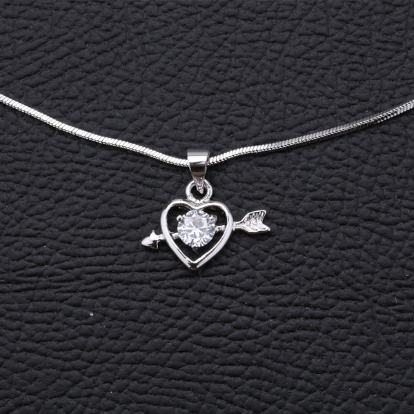 Antique Silver Plated Heart Shape Chain Pendant A6510329-4