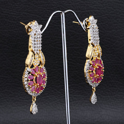 Antique Gold plated Jhumki with Pink stone