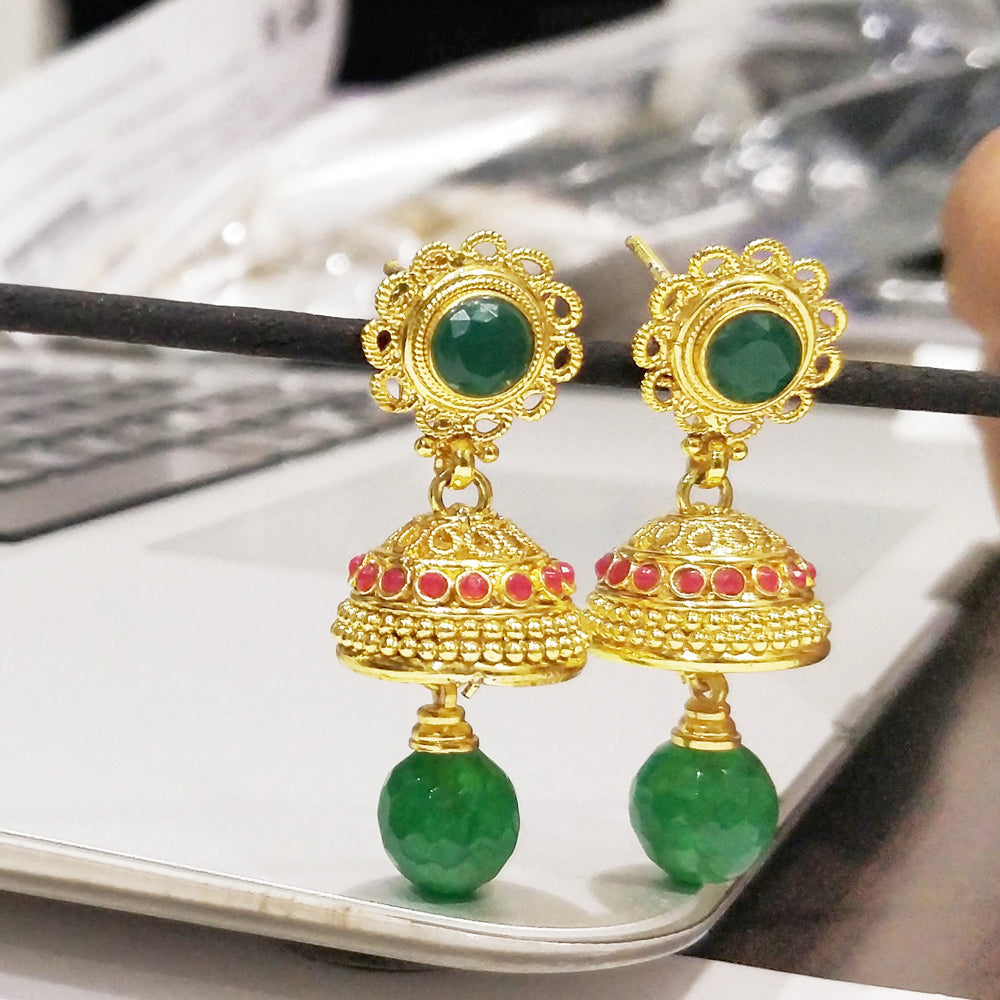 Antique Gold plated Jhumki with Green Beads