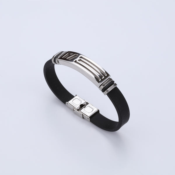 Silicone Stainless Steel Designer Bracelet For Men A8003071-9