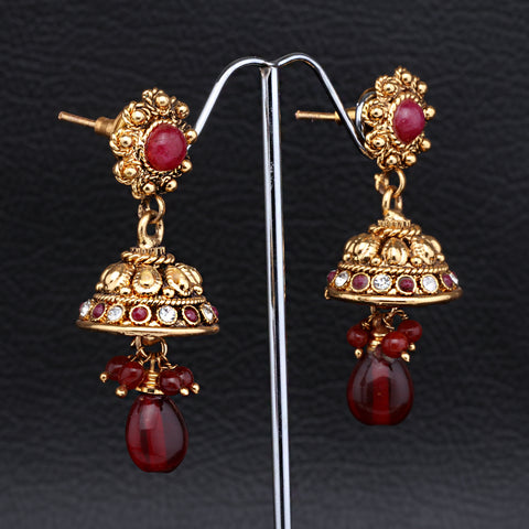 Antique Gold plated Jhumki with Pink and Red Beads