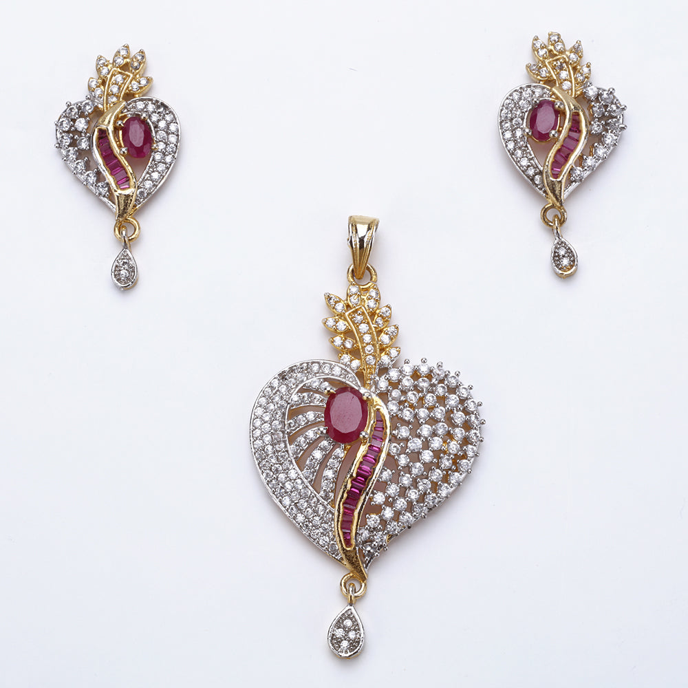 Antique Silver Plated Pink Heart Pendant Set with Earrings