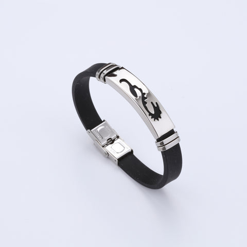 Silicone Stainless Steel Dragon Design Bracelet For Men A8003014-9