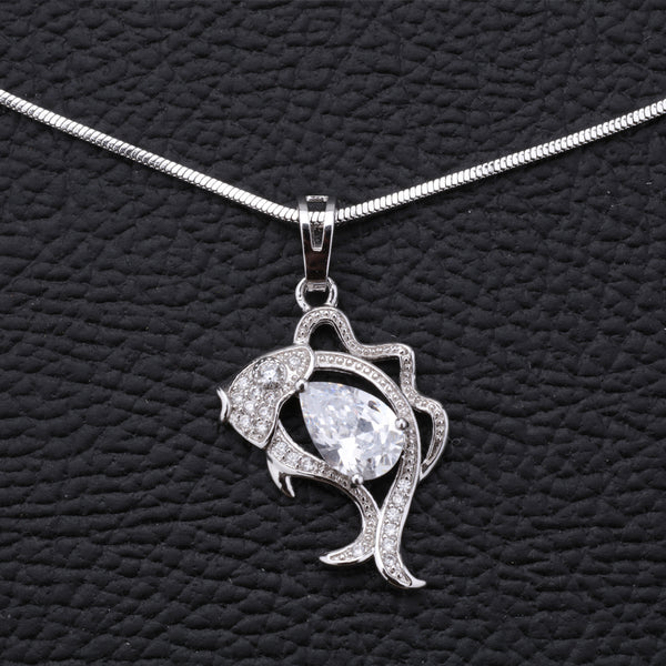 Antique Silver Plated Fish Shape Chain Pendant