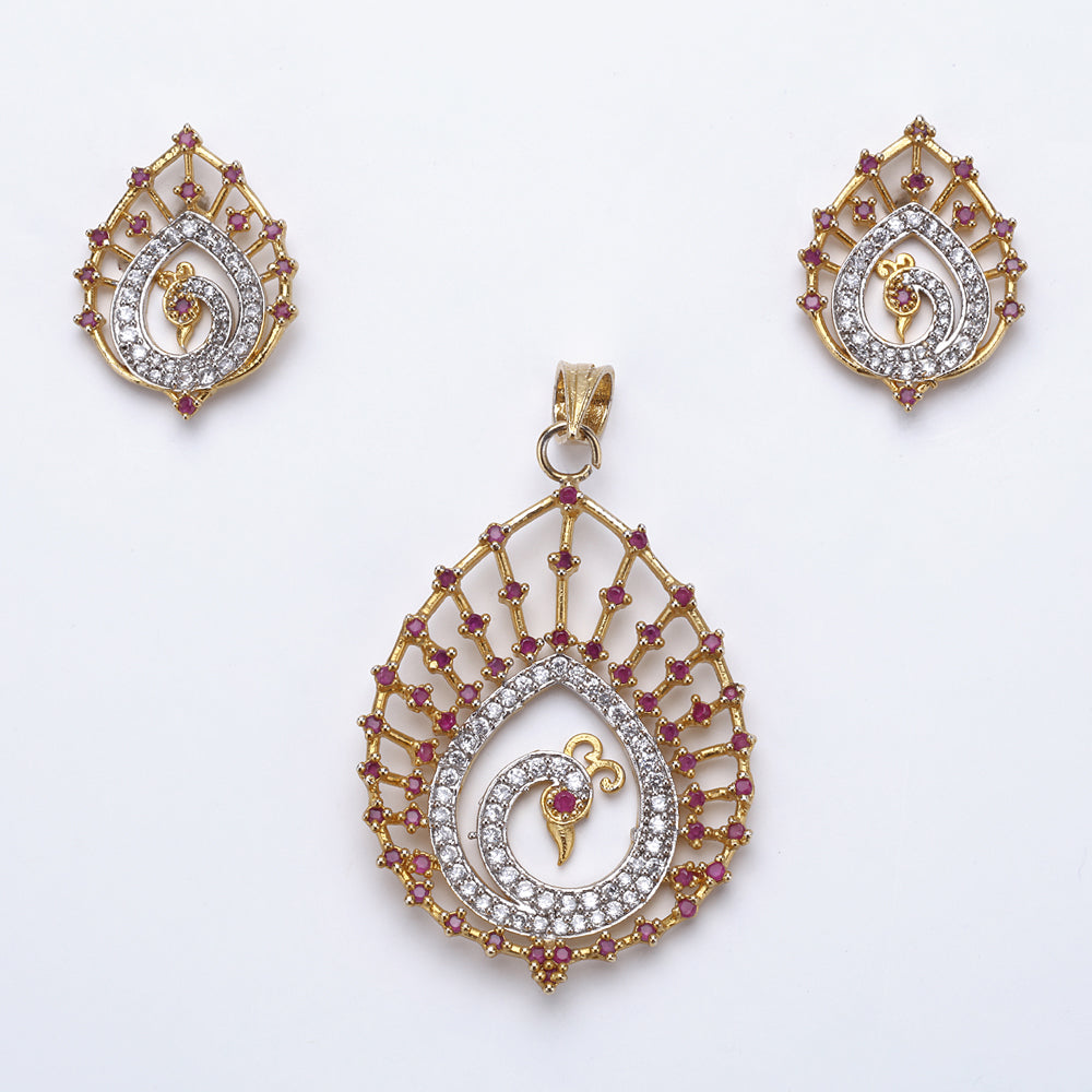 Antique Gold Plated Peacock Pendant Set with Earrings