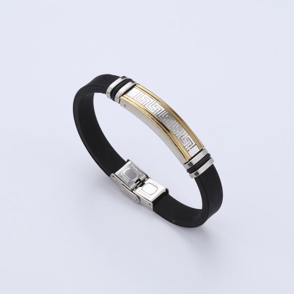 Silicone Stainless Steel and Golden Bracelet For Men A800423