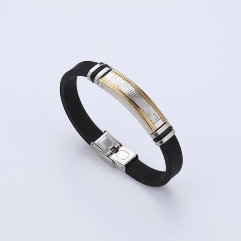 Silicone Stainless Steel and Golden Bracelet For Men