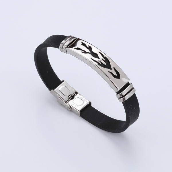 Silicone Stainless Steel Fire Design Bracelet For Men