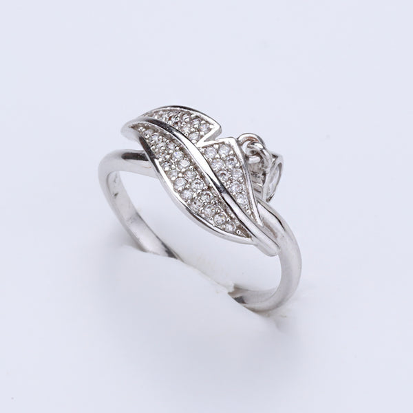 Antique Silver Plated Leaf Designer Ring