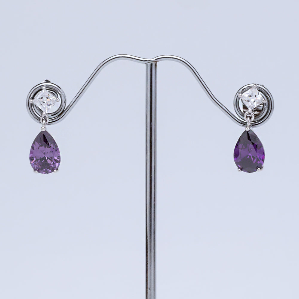 Antique Silver Plated Purple Oval AD Designer Earring