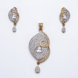 Antique Gold Plated Rick Look Pendant Set with Earrings
