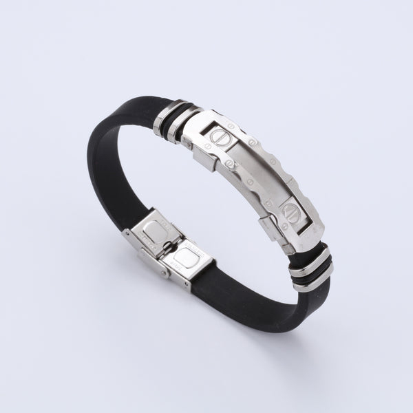 Silicone Stainless Steel Stripe Design Bracelet For Men A8003063-9
