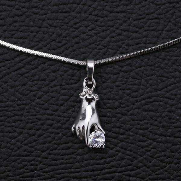 Antique Silver Plated Hand Shape Chain Pendant