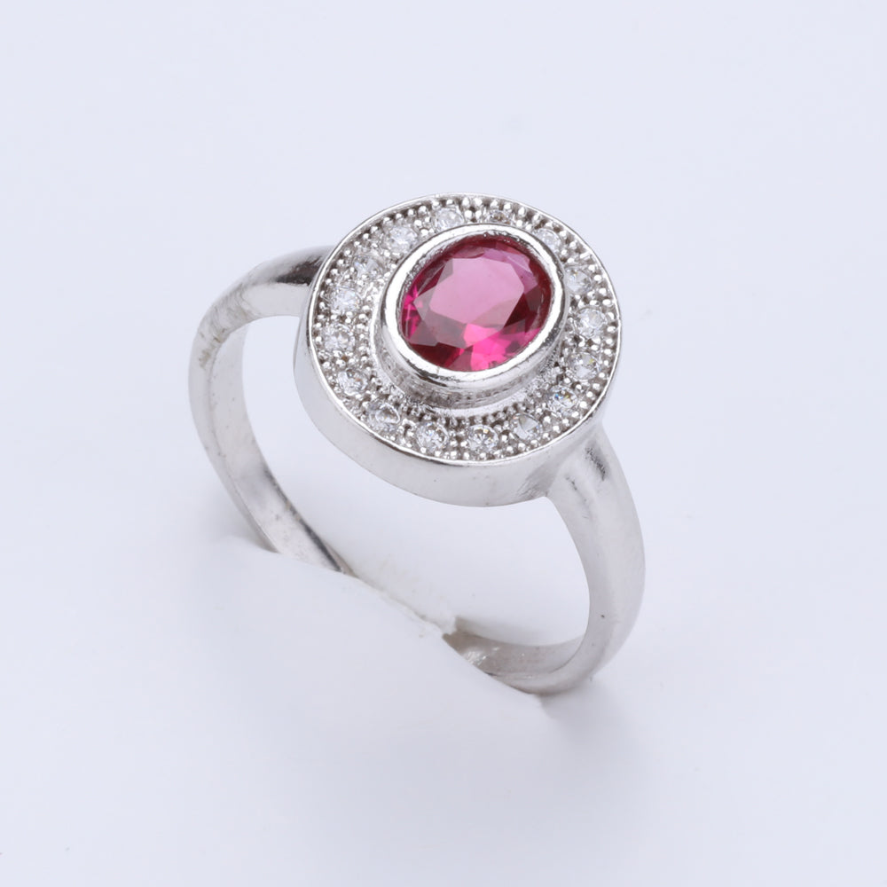 Antique Silver Plated Circle Pink and While Designer Ring