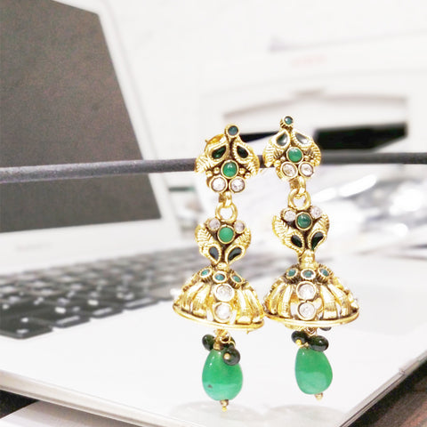 Antique Gold plated Jhumki with Green and White AD Stone