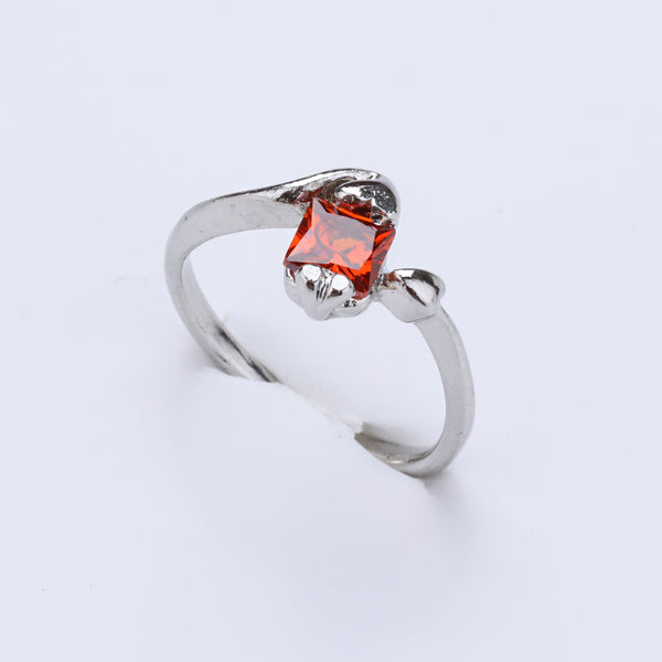 Antique Silver Plated Orange Stone Ring