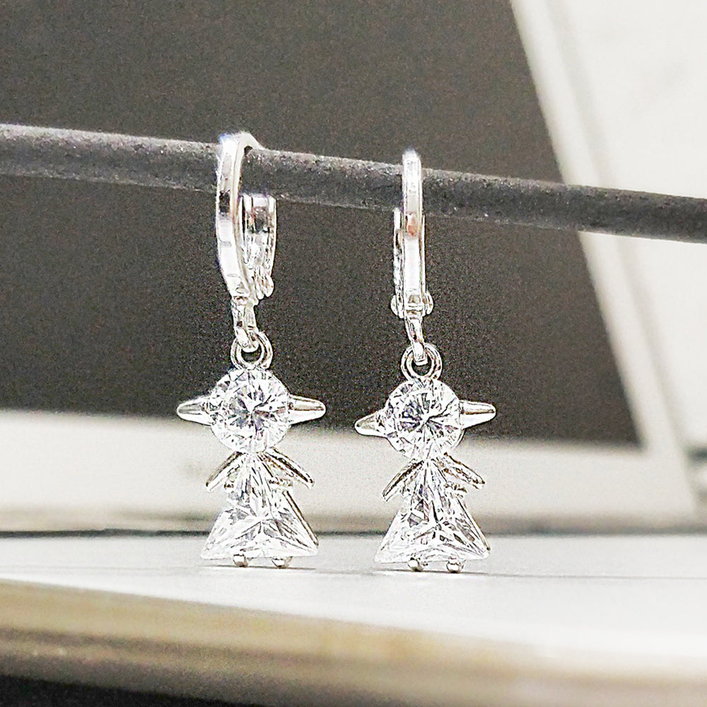 Antique Silver Plated Triangle Earrings
