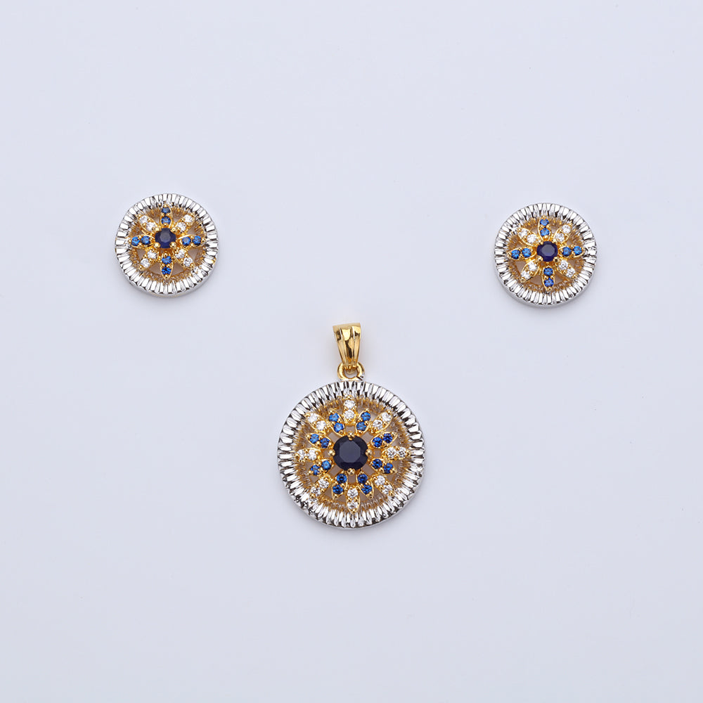 Antique Gold Plated Round Pendant Set with Earrings