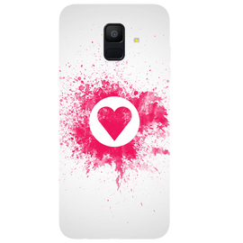 Pink Heart Art Printed Case Cover For Samsung A6 by Mobiflip