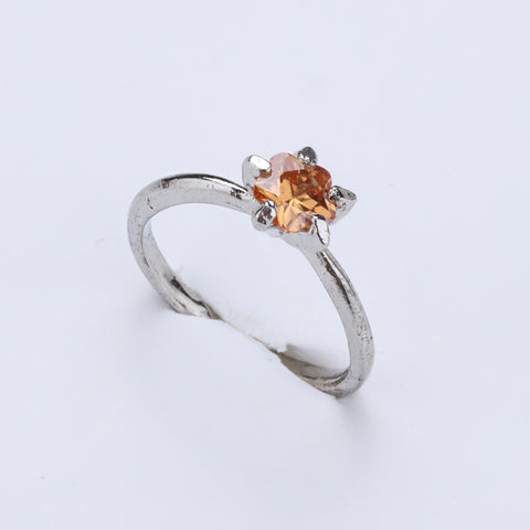 Antique Silver Plated Orange Flower Designer Ring